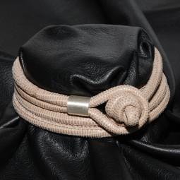 Knotenlederband aus geprägtem Nappaleder, hellbeige