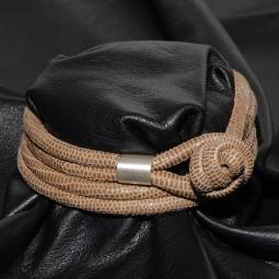 Knotenlederband aus geprägtem Nappaleder, beige