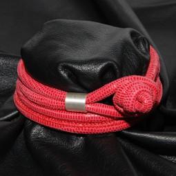 Knotenlederband aus geprägtem Nappaleder, berry