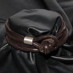 Knotenlederband aus geprägtem Nappaleder, dunkelbraun