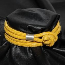 Knotenlederband aus geprägtem Nappaleder, gelb