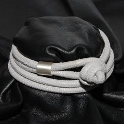 Knotenlederband aus geprägtem Nappaleder, eisgrau