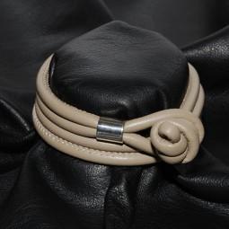 Weiches Knotenlederband aus Nappaleder, beige