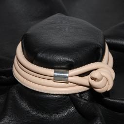 Weiches Knotenlederband aus Nappaleder, hellbeige